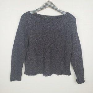 Eileen Fisher Sweater with raw hem navy tan cream